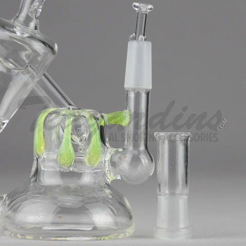 "Teagardins Glass - D.I. Bubbler - Inline Percolator Diffuser Oil Rig - Green - 5mm Thickness / 4.5"" Height"