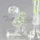 "Teagardins Glass - D.I. Bubbler - Inline Percolator Diffuser Dab Rig - Green - 5mm Thickness / 4.5"" Height"