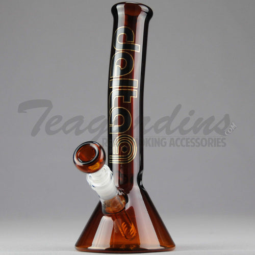 Delta 9 Glass - Diffuser Downstem Beaker Water Pipe - Amber Glass / Black & Gold Decal - 5mm Thickness / 11