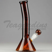 "Load image into Gallery viewer, Delta 9 Glass - Diffuser Downstem Beaker Water Pipe - Amber Glass / Black & Gold Decal - 5mm Thickness / 11"" Height"