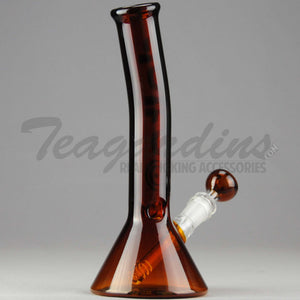 "Delta 9 Glass - Diffuser Downstem Beaker Water Pipe - Amber Glass / Black & Gold Decal - 5mm Thickness / 11"" Height"