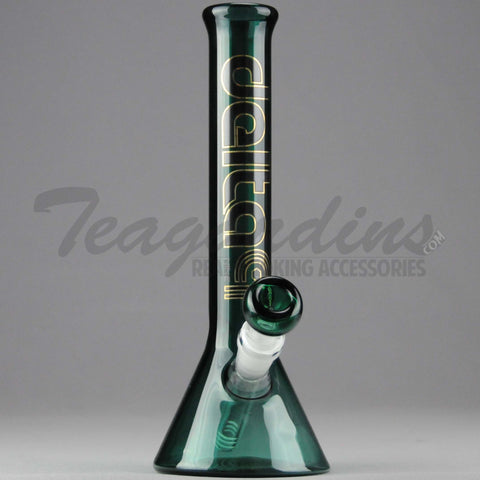 "Delta 9 Glass - Beaker Water Pipe - Green Glass / Black & Gold Decal - 5mm Thickness / 11"" Height"