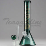 "Delta 9 Glass - Diffuser Downstem Beaker Water Pipe - Green Glass / Black & Gold Decal - 5mm Thickness / 11"" Height"