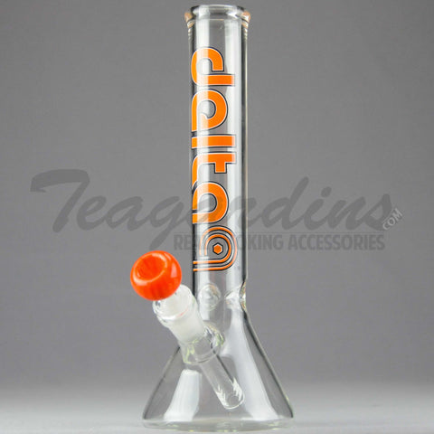 "Delta 9 Glass - Diffuser Downstem Beaker Water Pipe - Orange Decal - 5mm Thickness / 11"" Height"