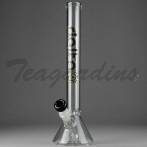 "Delta 9 Glass - Diffuser Downstem Beaker Water Pipe - Black & Gold Decal - 5mm Thickness / 14"" Height"
