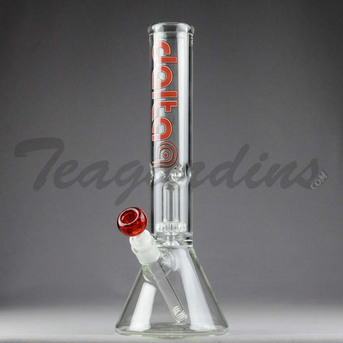 Delta 9 Glass - Double Chamber Showerhead Percolator Beaker Water Pipe - Red Decal - 5mm Thickness / 14