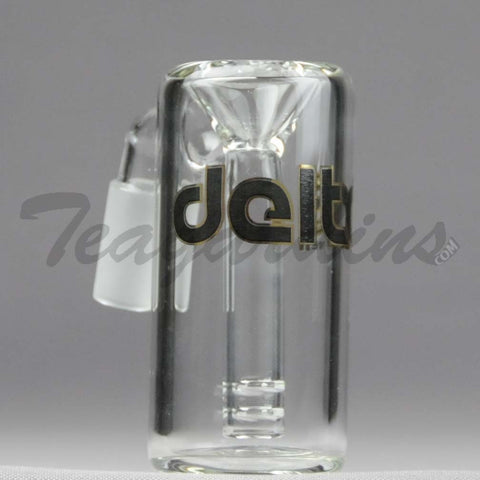 "Delta 9 Glass - Fixed Diffuser Downstem Ash Catcher / Precooler - 45 Degree Arm / 3"" Height"