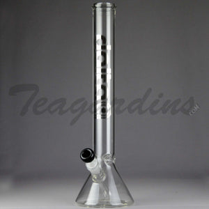"Delta 9 Glass - Diffuser Downstem Beaker Water Pipe - Chrome Decal - 5mm Thickness / 18"" Height"