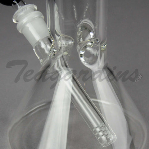 "Delta 9 Glass - Beaker Water Pipe - Chrome Decal - 5mm Thickness / 18"" Height"