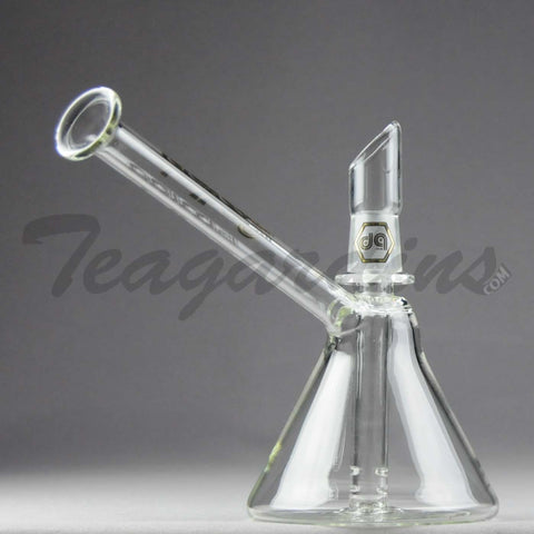 "Delta 9 Glass - D.I. Fixed Diffuser Downstem Beaker Oil Rig - Gold Decal - 4mm Thickness/ 6.5"" Height"