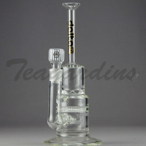 "Delta 9 Glass - Pyramid - Inline Diffuser Turbine Honeycomb Percolator Straight Water Pipe - Black & Gold Decal - 5mm Thickness / 13"" Height"