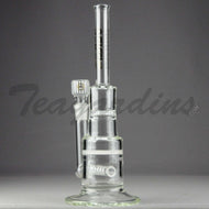 Delta 9 Glass - Pyramid - Inline Diffuser Double Honeycomb Percolator Straight Water Pipe - Black & Gold Decal - 5mm Thickness / 13