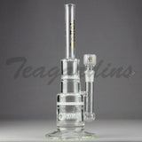 "Delta 9 Glass - Inline Pyramid Straight Water Pipe - Black & Gold Decal - 5mm Thickness / 13"" Height"