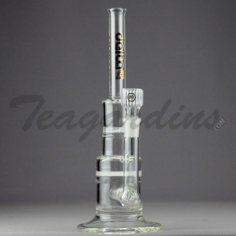 "Delta 9 Glass - Pyramid - Inline Diffuser Double Honeycomb Percolator Straight Water Pipe - Black & Gold Decal - 5mm Thickness / 13"" Height"