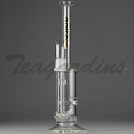 Delta 9 Glass - Inline Diffuser Turbine Percolator Stemless Straight Water Pipe - Black & Gold Decal - 5mm Thickness / 11.5