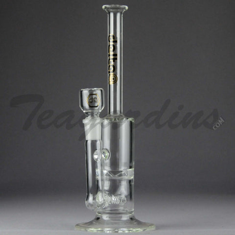 "Delta 9 Glass - Inline Diffuser Turbine Percolator Stemless Straight Water Pipe - Black & Gold Decal - 5mm Thickness / 11.5"" Height"