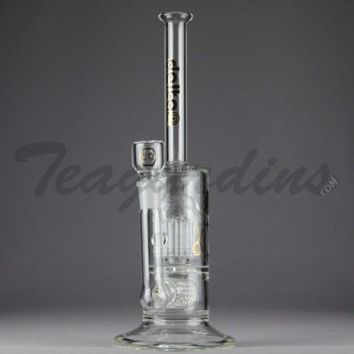 Delta 9 Glass - Stemless Inline Straight Water Pipe - Black & Gold Decal - 5mm Thickness / 13