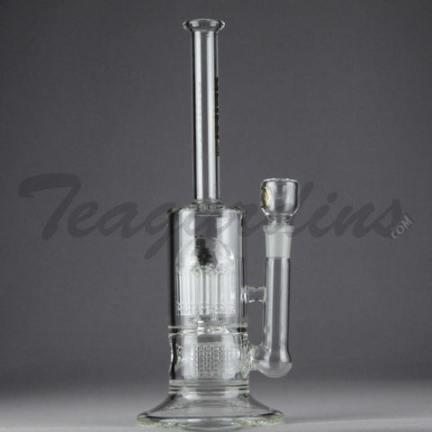 "Delta 9 Glass - Stemless Inline Straight Water Pipe - Black & Gold Decal - 5mm Thickness / 13"" Height"