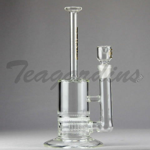 "Delta 9 Glass -  Honeycomb Percolator Inline Diffuser Stemless Straight Water Pipe - Black & Gold Decal -  5mm Thickness  / 11"" Height"