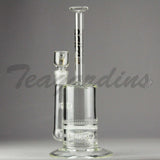 "Delta 9 Glass -  Stemless Straight Water Pipe - Black & Gold Decal -  5mm Thickness  / 11"" Height"