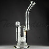 "Delta 9 Glass - Zen 9 Stemless Sherlock Straight Water Pipe - Black & Gold Decal - 5mm Thickness / 11"" Height"