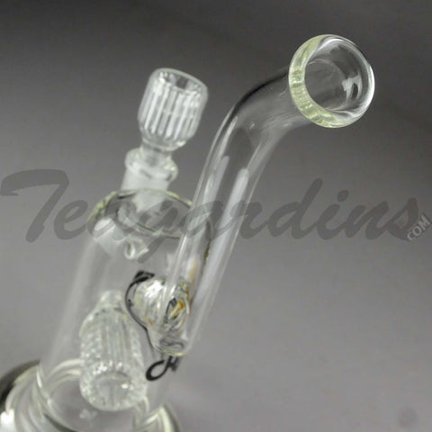 "Delta 9 Glass - Zen 9 Sherlock - Inline Barrel Percolator Stemless Straight Water Pipe - Black & Gold Decal - 5mm Thickness / 11"" Height"