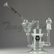 Delta 9 Glass - Recycler Honeycomb Percolator Dab Rig - Black Gold Decal - 5mm Thickness / 10