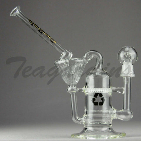 "Delta 9 Glass - Recycler Honeycomb Percolator Dab Rig - Black Gold Decal - 5mm Thickness / 10"" Height"