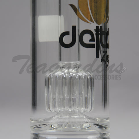 "Delta 9 Glass - Zen Bubbler - Fixed Matrix Percolator Straight Water Pipe - Black Gold Decal - 5mm Thickness / 12.5"" Height"