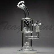 Diamond Glass - Double Matrix & Mini Matrix Percolator Stemless Straight Water Pipe - Black Decal - 4mm Thickness / 10
