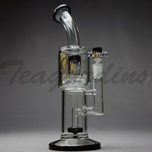 "Load image into Gallery viewer, Diamond Glass - Stemless Double Chamber Straight Water Pipe - Gold Decal / Black Foot - 5mm Wall Thickness / 12"" Height Diamond Glass - Double Chamber UFO Showerhead Percolator Stemless Straight Water Pipe - Black / Gold Decal / Black Foot - 5mm Thickness / 12"" HeightDiamond Glass - Double Chamber UFO Showerhead Percolator Stemless Straight Water Pipe - Black / Gold Decal / Black Foot - 5mm Thickness / 12"" Height"