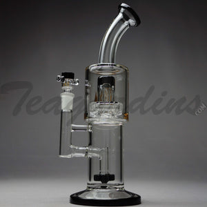 "Diamond Glass - Stemless Double Chamber Straight Water Pipe - Gold Decal / Black Foot - 5mm Wall Thickness / 12"" Height Diamond Glass - Double Chamber UFO Showerhead Percolator Stemless Straight Water Pipe - Black / Gold Decal / Black Foot - 5mm Thickness / 12"" HeightDiamond Glass - Double Chamber UFO Showerhead Percolator Stemless Straight Water Pipe - Black / Gold Decal / Black Foot - 5mm Thickness / 12"" Height"