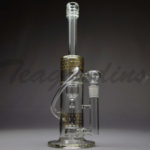 Diamond Glass - Double Chamber Recycler Flower Decal Water Pipe