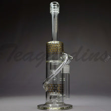 "Load image into Gallery viewer, Diamond Glass - Stemless Recycler Double Chamber Straight Water Pipe - Gold Decal -  5mm Thickness / 15"" Height"