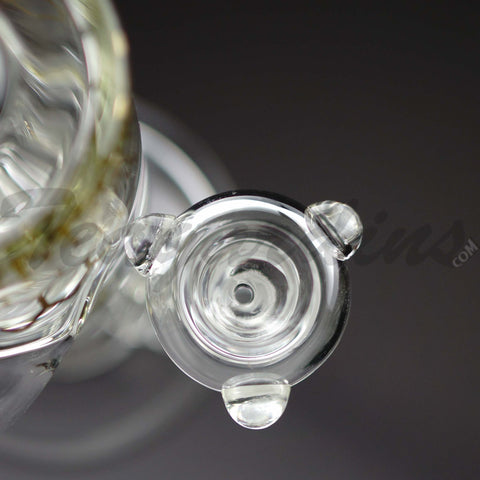 "Diamond Glass - Recycler - Double Chamber Showerhead Percolator Straight Water Pipe - Gold Decal -  5mm Thickness / 15"" Height"