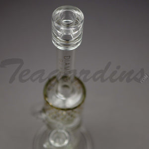 "Diamond Glass - Stemless Recycler Double Chamber Straight Water Pipe - Gold Decal -  5mm Thickness / 15"" Height"