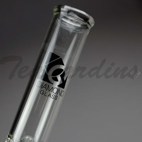 "Diamond Glass - Double Chamber Showerhead Percolator Diffuser Downstem Straight Water Pipe - 5mm Thickness / 16"" Height"