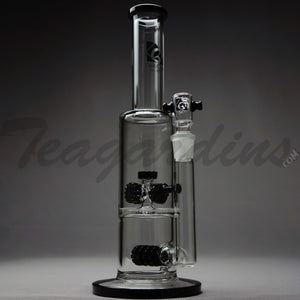 "Diamond Glass - Stemless Double Chamber Straight Water Pipe - Black Decal - 5mm Thickness / 13"" Height"