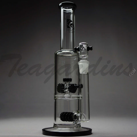 "Diamond Glass - Double Chamber Inline Gear Works & Gear Works Percolator Stemless Straight Water Pipe - Black Decal - 5mm Thickness / 13"" Height"