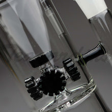 "Load image into Gallery viewer, Diamond Glass - Stemless Double Chamber Straight Water Pipe - Black Decal - 5mm Thickness / 13"" HeightDiamond Glass - Double Chamber Inline Gear Works & Gear Works Percolator Stemless Straight Water Pipe - Black Decal - 5mm Thickness / 13"" Height"