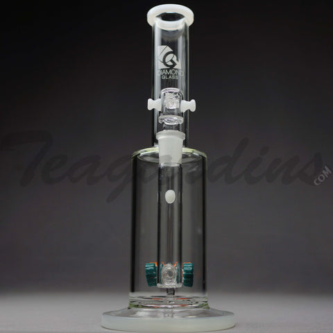 "Diamond Glass - Gear Works Percolator Stemless Straight Water Pipe - White Decal - 5mm Thickness / 12.5"" Height"