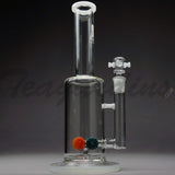 "Diamond Glass - Stemless Straight Water Pipe - White Decal - 5mm Thickness / 12.5"" Height"