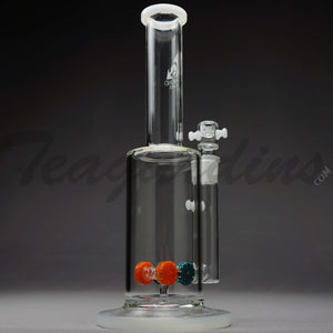 "Diamond Glass - Stemless Straight Water Pipe - White Decal - 5mm Thickness / 12.5"" HeightDiamond Glass - Gear Works Percolator Stemless Straight Water Pipe - White Decal - 5mm Thickness / 12.5"" Height"