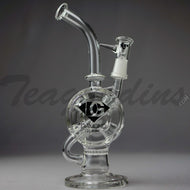 Diamond Glass - Drive Thru Faberge Egg Recycler Honeycomb Percolator Stemless Dab Rig - 5mm Thickness / 10