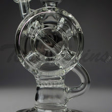 "Load image into Gallery viewer, Diamond Glass - Drive Thru Egg Recycler Honeycomb Percolator Stemless Dab Rig - 5mm Thickness / 10"" Height"