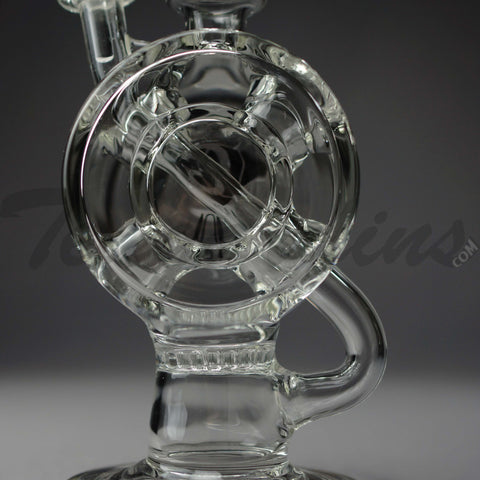 "Delta 9 Glass - D.I. Recycler Drive Thru Faberge Egg & Honeycomb Percolator Stemless Oil Rig - Frosted Glass / Etched - 5mm / 8"" Height"