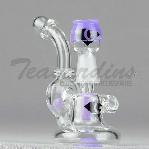 "Diamond Glass - Pendant - Mini Recycler Diffuser Downstem Bent Neck Dab Rig - Purple - 4mm Thickness / 4"" Height"