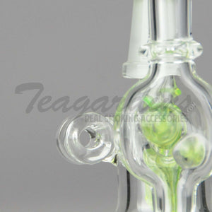 "Diamond Glass - Pendant - Mini Recycler Diffuser Downstem Bent Neck Dab Rig - Green - 4mm Thickness / 4"" Height"