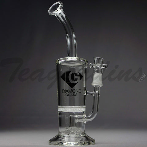"Diamond Glass - Sunday Cup - Fritted Disc Percolator Showerhead Diffuser Stemless Straight Water Pipe - Black Decal - 5mm Thickness / 11"" Height"