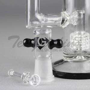 "Eagle Eye Glass 10"" Stemless Double Chamber Water Pipe with Double Matrix Percolators"